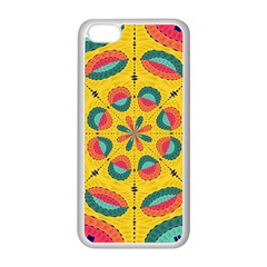 Textured Tropical Mandala Apple Iphone 5c Seamless Case (white) by linceazul