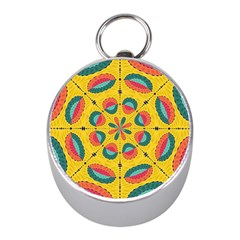 Textured Tropical Mandala Mini Silver Compasses by linceazul