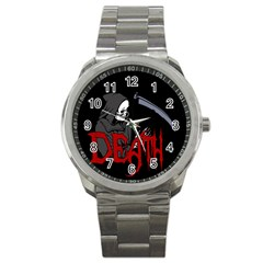 Death   Halloween Sport Metal Watch by Valentinaart