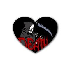 Death   Halloween Rubber Coaster (heart)  by Valentinaart