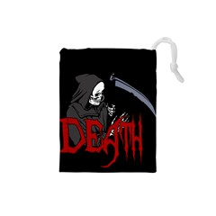 Death   Halloween Drawstring Pouches (small)  by Valentinaart