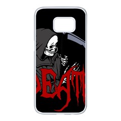 Death   Halloween Samsung Galaxy S7 Edge White Seamless Case by Valentinaart