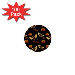 Bat, Pumpkin And Spider Pattern 1  Mini Buttons (100 Pack)  by Valentinaart