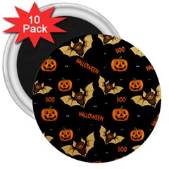 Bat, Pumpkin And Spider Pattern 3  Magnets (10 Pack)  by Valentinaart