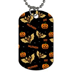 Bat, Pumpkin And Spider Pattern Dog Tag (two Sides) by Valentinaart