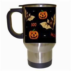 Bat, Pumpkin And Spider Pattern Travel Mugs (white) by Valentinaart