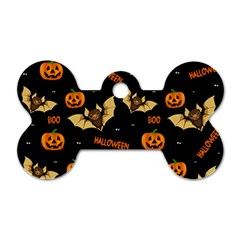 Bat, Pumpkin And Spider Pattern Dog Tag Bone (one Side) by Valentinaart