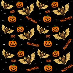 Bat, Pumpkin And Spider Pattern Magic Photo Cubes by Valentinaart