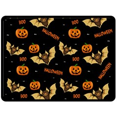 Bat, Pumpkin And Spider Pattern Double Sided Fleece Blanket (large)  by Valentinaart