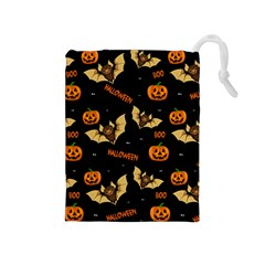 Bat, Pumpkin And Spider Pattern Drawstring Pouches (medium)  by Valentinaart