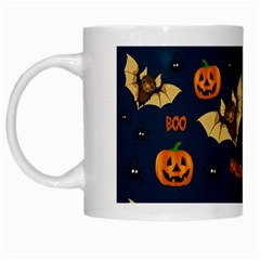 Bat, Pumpkin And Spider Pattern White Mugs by Valentinaart