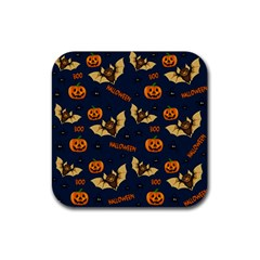 Bat, Pumpkin And Spider Pattern Rubber Coaster (square)  by Valentinaart