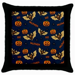Bat, Pumpkin And Spider Pattern Throw Pillow Case (black) by Valentinaart