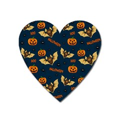 Bat, Pumpkin And Spider Pattern Heart Magnet by Valentinaart
