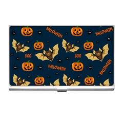 Bat, Pumpkin And Spider Pattern Business Card Holders by Valentinaart