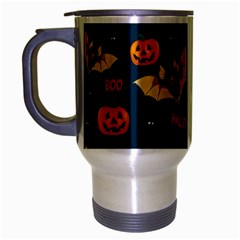 Bat, Pumpkin And Spider Pattern Travel Mug (silver Gray) by Valentinaart
