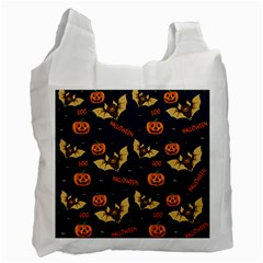 Bat, Pumpkin And Spider Pattern Recycle Bag (one Side) by Valentinaart