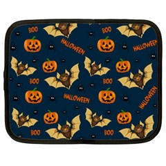 Bat, Pumpkin And Spider Pattern Netbook Case (xxl)  by Valentinaart