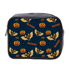 Bat, Pumpkin And Spider Pattern Mini Toiletries Bag 2 Side by Valentinaart