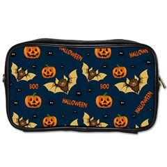 Bat, Pumpkin And Spider Pattern Toiletries Bags by Valentinaart