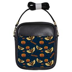 Bat, Pumpkin And Spider Pattern Girls Sling Bags by Valentinaart