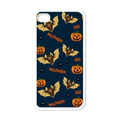 Bat, Pumpkin And Spider Pattern Apple Iphone 4 Case (white) by Valentinaart