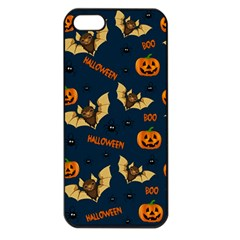 Bat, Pumpkin And Spider Pattern Apple Iphone 5 Seamless Case (black) by Valentinaart