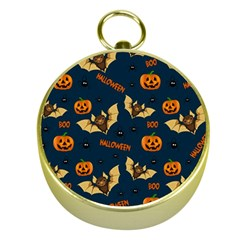 Bat, Pumpkin And Spider Pattern Gold Compasses by Valentinaart