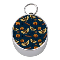 Bat, Pumpkin And Spider Pattern Mini Silver Compasses by Valentinaart