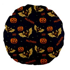 Bat, Pumpkin And Spider Pattern Large 18  Premium Flano Round Cushions by Valentinaart