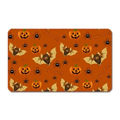 Bat, Pumpkin And Spider Pattern Magnet (rectangular) by Valentinaart