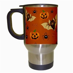 Bat, Pumpkin And Spider Pattern Travel Mugs (white) by Valentinaart