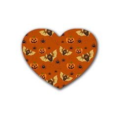 Bat, Pumpkin And Spider Pattern Rubber Coaster (heart)  by Valentinaart