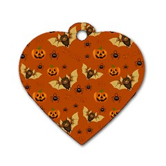 Bat, Pumpkin And Spider Pattern Dog Tag Heart (one Side) by Valentinaart