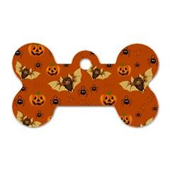 Bat, Pumpkin And Spider Pattern Dog Tag Bone (one Side) by Valentinaart