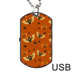 Bat, Pumpkin And Spider Pattern Dog Tag Usb Flash (two Sides) by Valentinaart