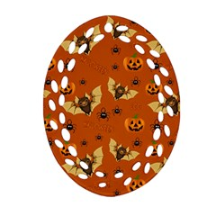 Bat, Pumpkin And Spider Pattern Oval Filigree Ornament (two Sides) by Valentinaart