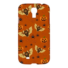 Bat, Pumpkin And Spider Pattern Samsung Galaxy S4 I9500/i9505 Hardshell Case by Valentinaart