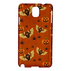 Bat, Pumpkin And Spider Pattern Samsung Galaxy Note 3 N9005 Hardshell Case by Valentinaart