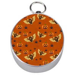 Bat, Pumpkin And Spider Pattern Silver Compasses by Valentinaart