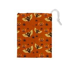 Bat, Pumpkin And Spider Pattern Drawstring Pouches (medium)  by Valentinaart