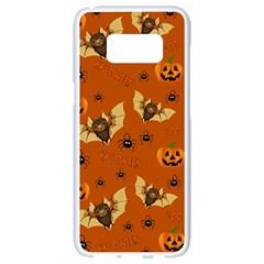 Bat, Pumpkin And Spider Pattern Samsung Galaxy S8 White Seamless Case by Valentinaart
