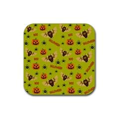 Bat, Pumpkin And Spider Pattern Rubber Coaster (square)  by Valentinaart