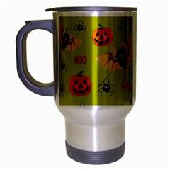 Bat, Pumpkin And Spider Pattern Travel Mug (silver Gray) by Valentinaart