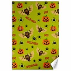 Bat, Pumpkin And Spider Pattern Canvas 12  X 18   by Valentinaart