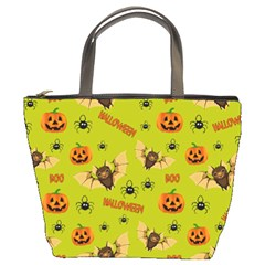 Bat, Pumpkin And Spider Pattern Bucket Bags by Valentinaart