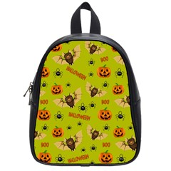 Bat, Pumpkin And Spider Pattern School Bag (small) by Valentinaart