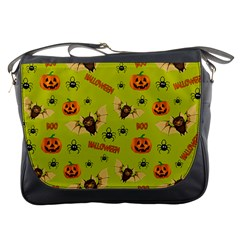 Bat, Pumpkin And Spider Pattern Messenger Bags by Valentinaart