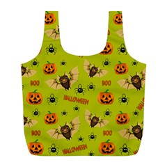 Bat, Pumpkin And Spider Pattern Full Print Recycle Bags (l)  by Valentinaart