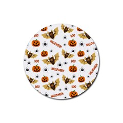 Bat, Pumpkin And Spider Pattern Rubber Coaster (round)  by Valentinaart